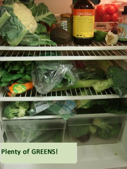 fridge full of greens