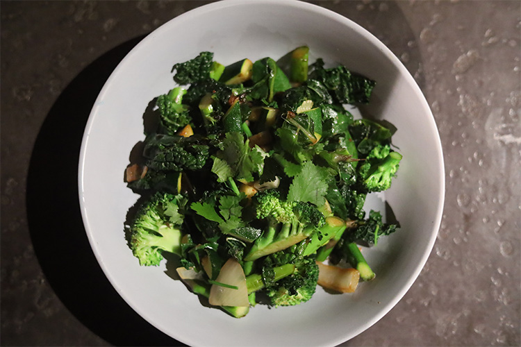 leafy greens and ginger stir fry overhead