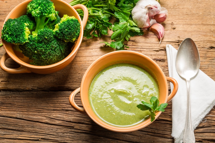 Broccoli soup made of fresh vegetables, garlic and parsley