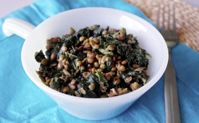 spinach-wilted-with-lentils-snack