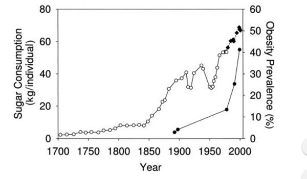 sugar intake vs obesity rates charted