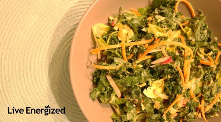 kale crunchy salad close up