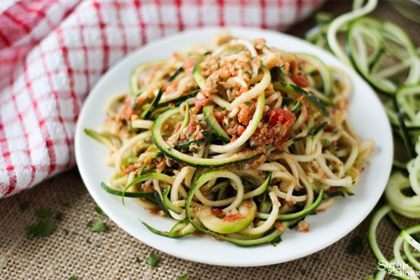 zoodles and mint pesto
