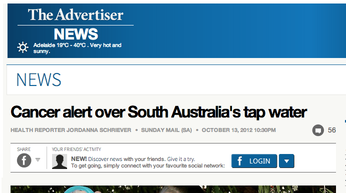 south australia cancer risk tap water