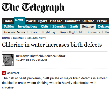 telegraph story about tap water dangers
