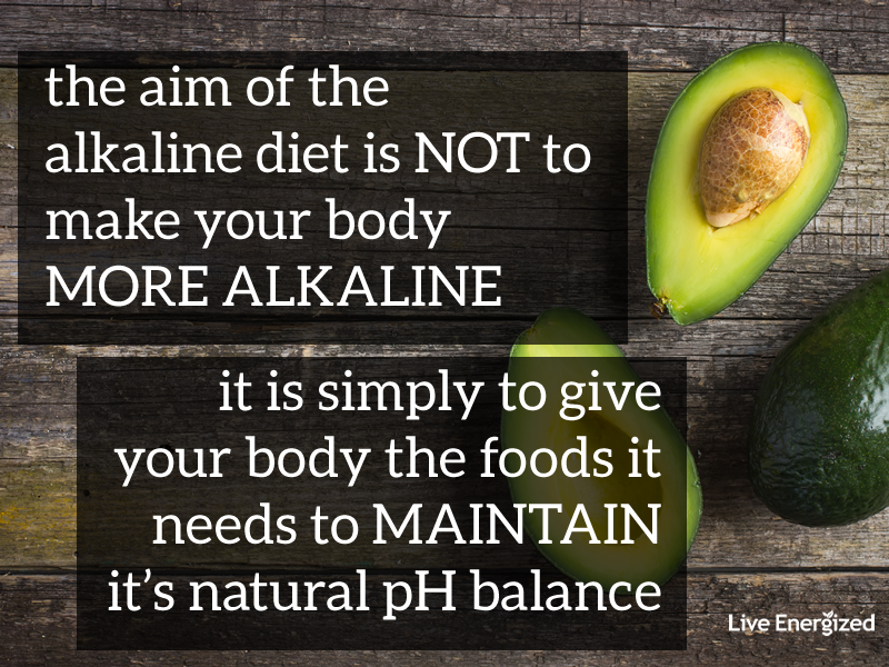 aim of the alkaline diet plan is to support your body's pH not change it