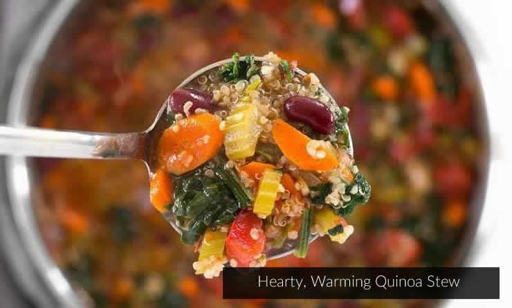quinoa stew close up of spoon